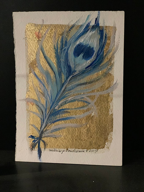 Peacock Feather 5x7 in blue