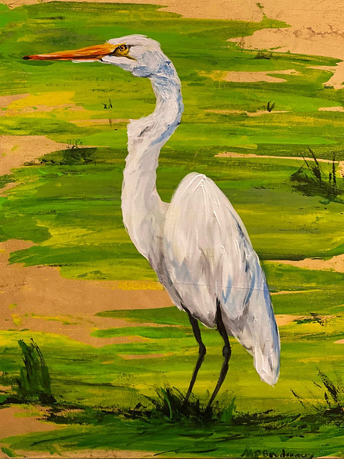 Egret in Swamp on Gold II