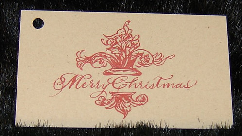 Red Merry Christmas Sentiment Tag
