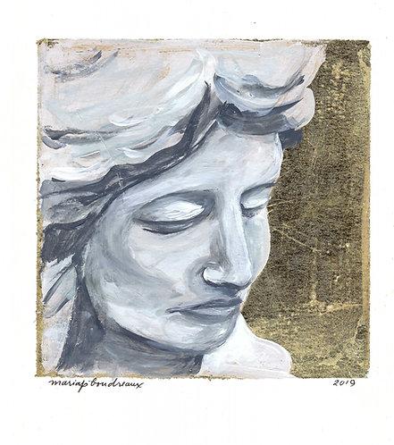 Angel Statue on Gold Leaf 8x10