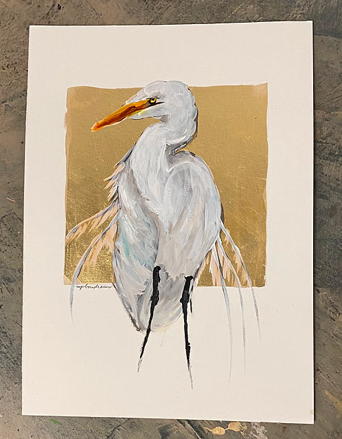 Egret on Gold I