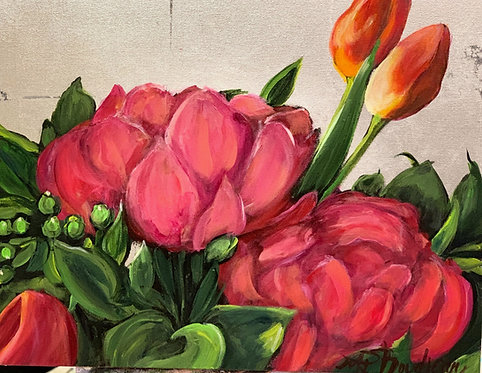 Pink Flowers and Orange Tulips