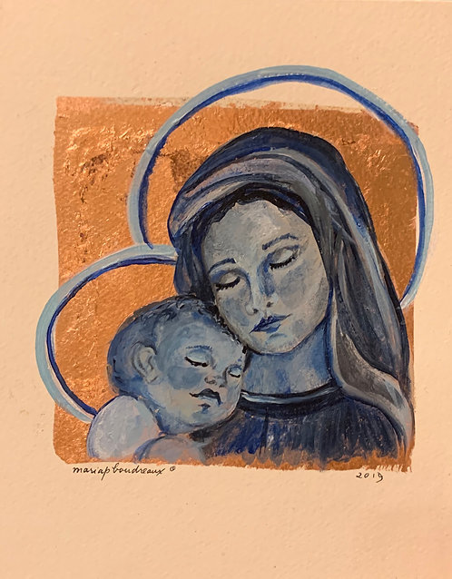 Mary and Jesus in Blue 8x10