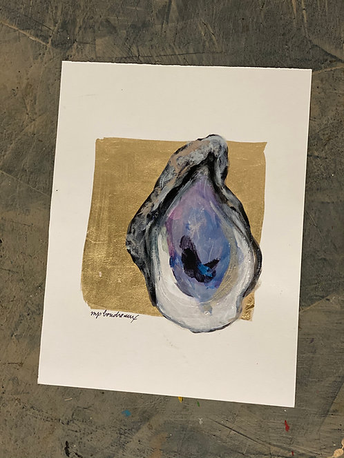 Oyster on Gold Leaf on Paper