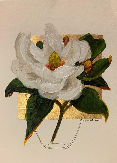 Magnolia in Vase On gold