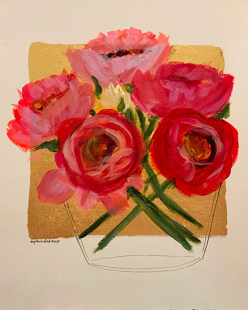 Peonies in Large vase on Gold