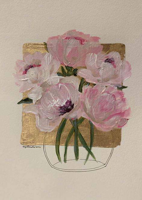 Pink Peonies in Vase on Gold