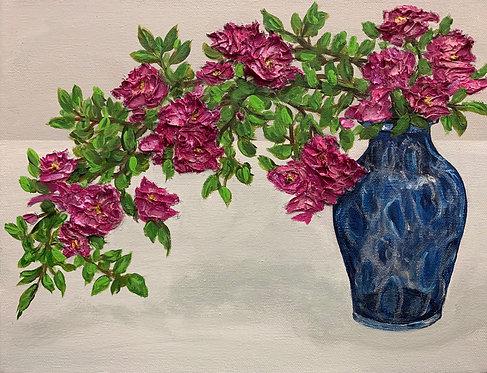 Grandpa's Roses in Blue Vase