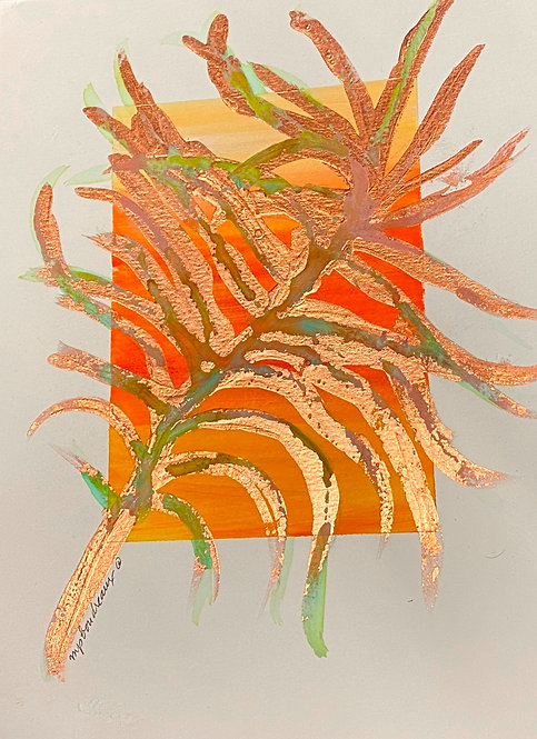 Distressed Copper Frond on Orange