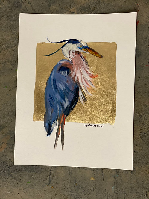 Blue Heron on Gold on Paper