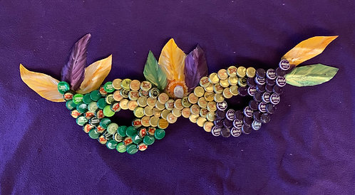 Mardi Gras Mask Bottle Cap Art