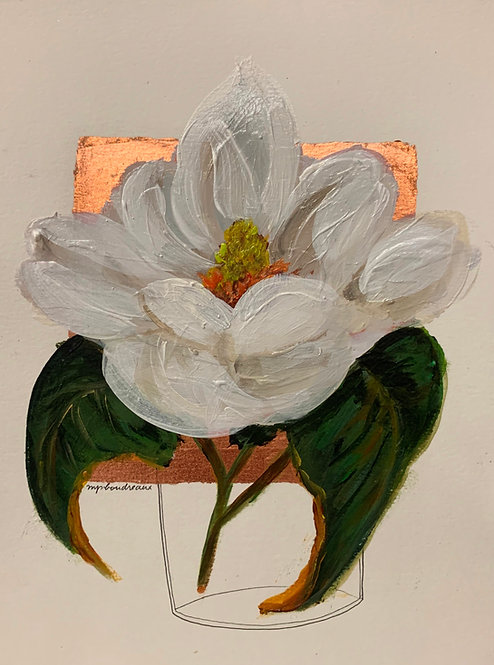 Magnolia in Vase on Copper