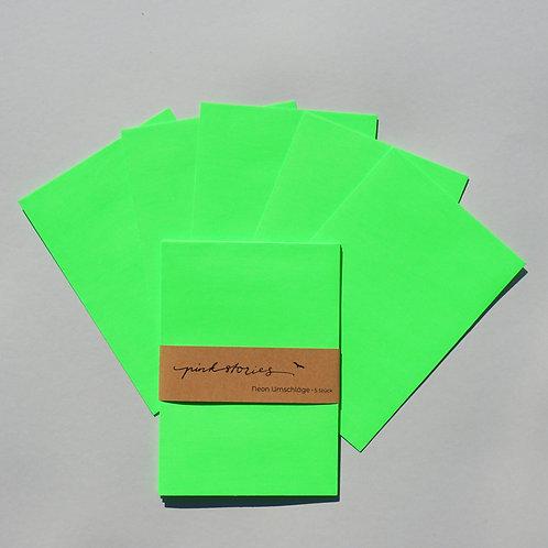 Neonumschläge grün