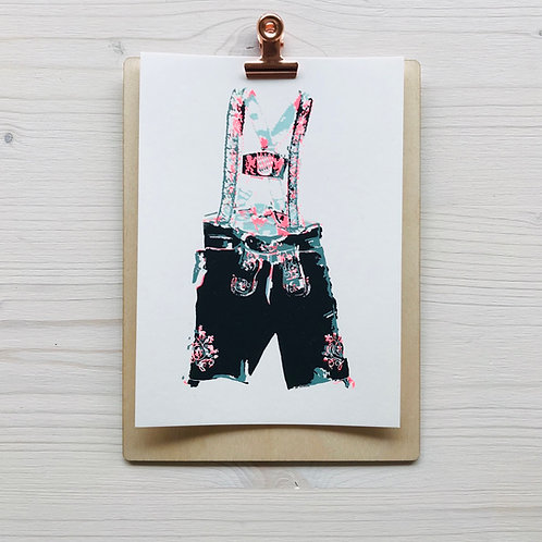 Mini.Kunstdruck Lederhose 3
