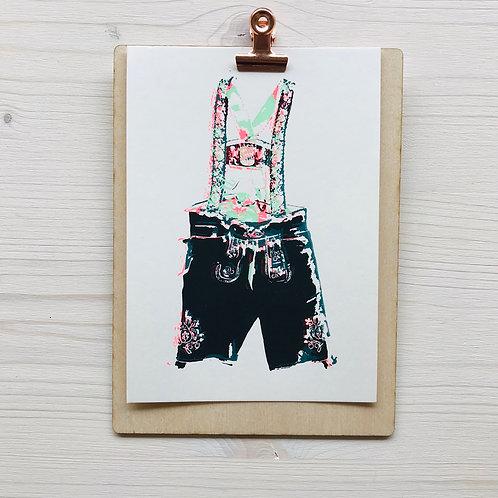 Mini.Kunstdruck Lederhose 5