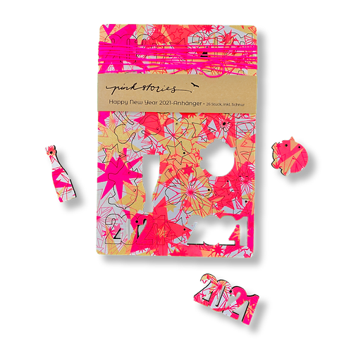 Happy New Year 2021 - Anhänger neonpink