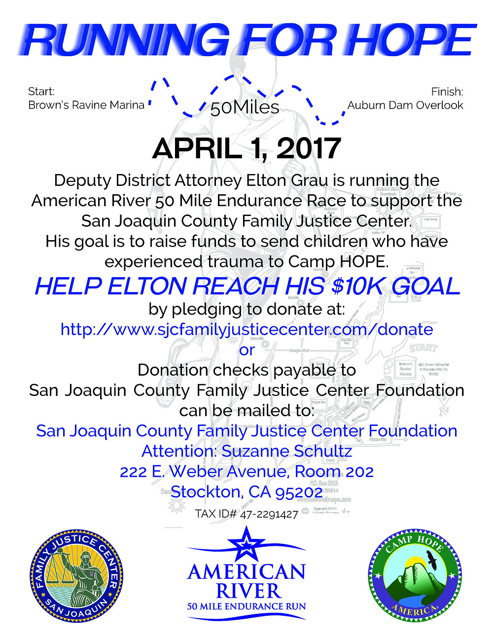 Support Deputy DA Elton Grau's 50 mile run to raise funds to send kids to Camp HOPE!