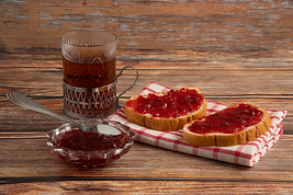 toastes-with-plum-confiture-and-glass-of
