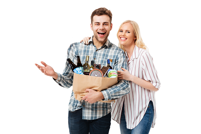 portrait-happy-couple-holding-paper-shop