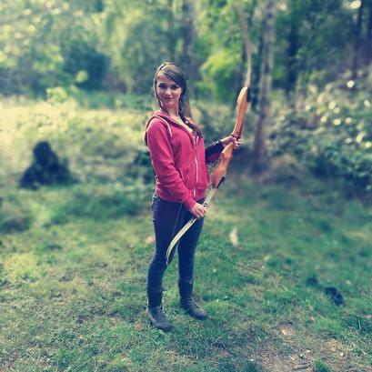 Hazel enjoys archery