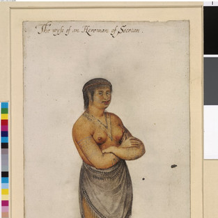 An Indian woman of Secoton; with tattoos