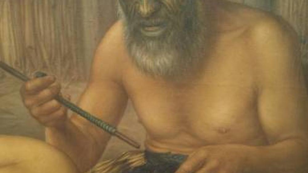 Portrait Painting by Gottfried Lindauer of Maori using Uhi
