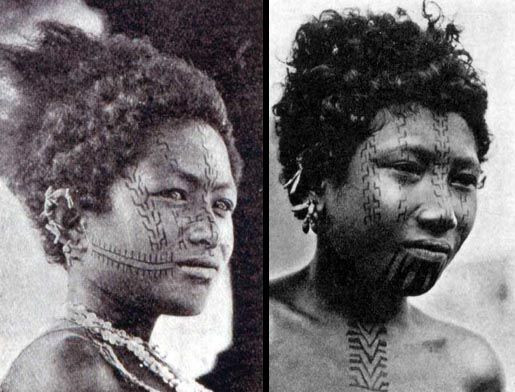 Face Tattoos on Girls of Papua New Guinea