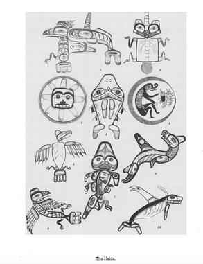 Haida Crest Tattoos drawn by John Cross