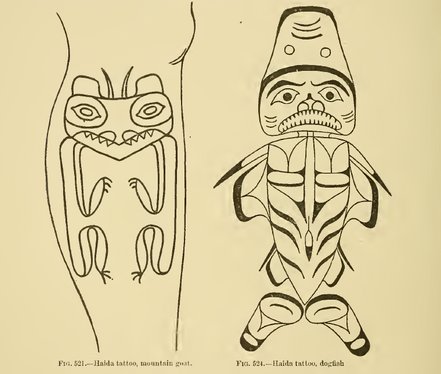 Haida Mountain Goat and Dogfish Crest Tattoos