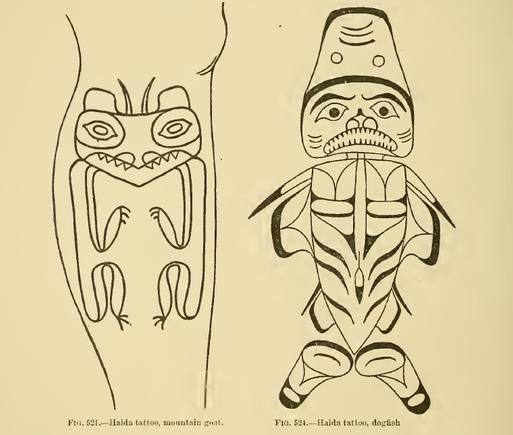 Haida Mountain Goat and Dogfish Crest Tattoos