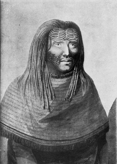 Tribal Face Tattoo of Nootka