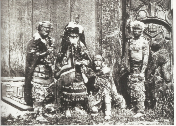 Masked Haida Men with Chief Xa'na with Crest Tattoos