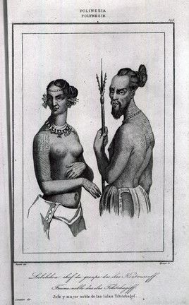 Polynesian Man and Woman with Tattoos
