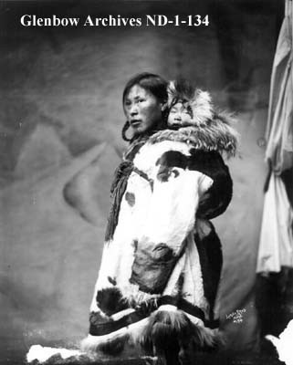 Inuit Mother in Fur Parka with Tattoos