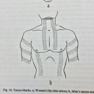 Cree Women's Chin Tattoo and Man's Body Tattoo