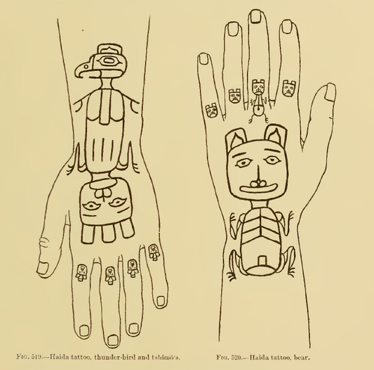 Haida Crest Tattoos on Hands