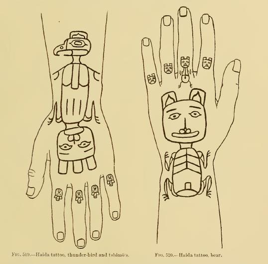 Haida Crest Tattoos on Hands