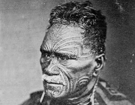 Maori Face Tattoos on Man