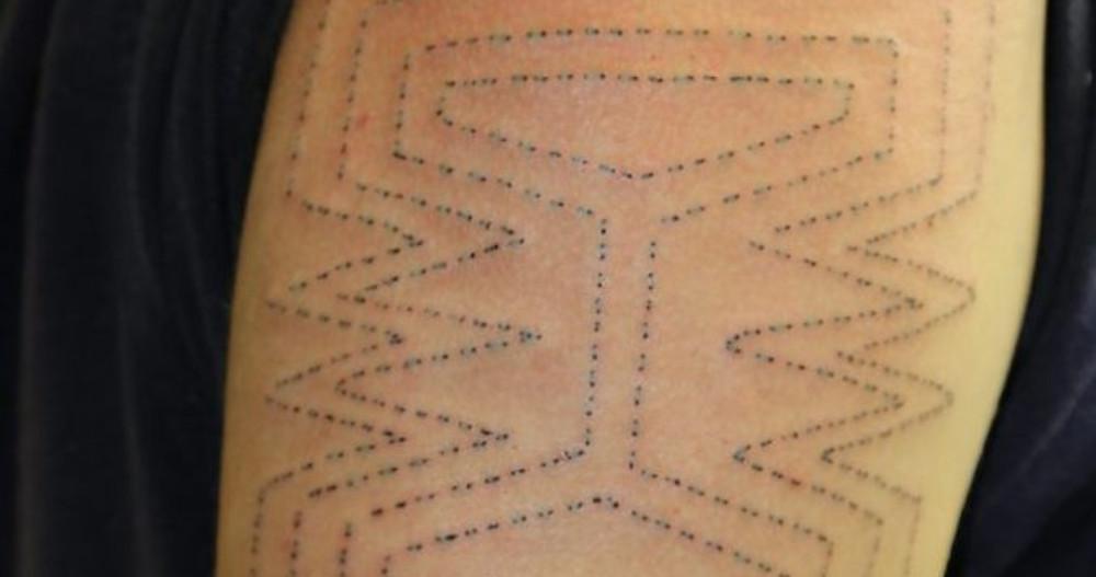 Nlaka'pamux Stone Hammer Skin Stitch Tattoo