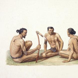 Habitants de l'ile Oualan (Archipel des iles Carolines).