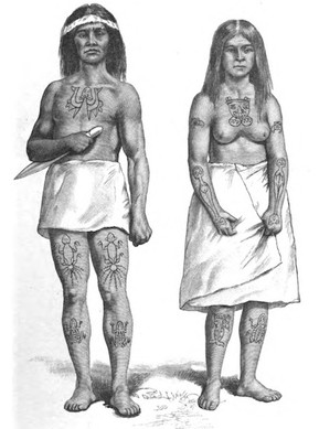 Haida Man and Woman with Cod Fish, Octopus, Frog, Beaver, Eagle, Halibut, Sculpin Crest Tattoos