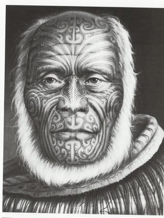 Drawing of Maori Tattooed Man