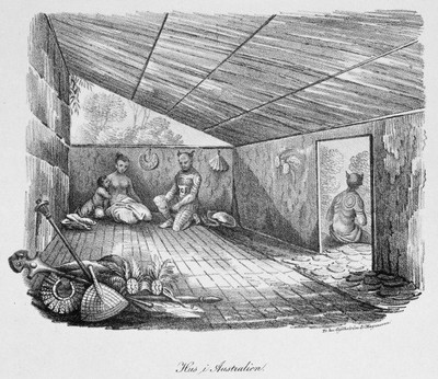 Tattooing in Marquesan Islands in Hut