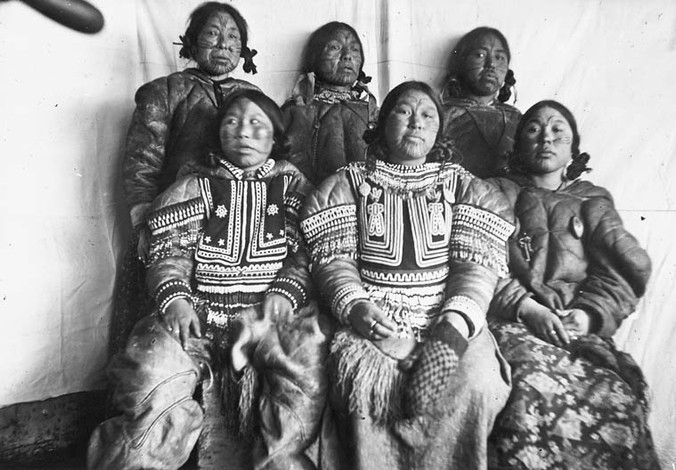 Group of Inuit Women with Tattoos