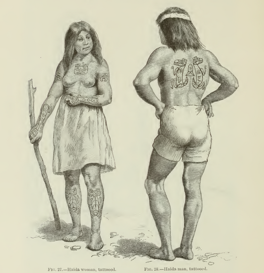 Haida Man and Woman with Crest Tattoos