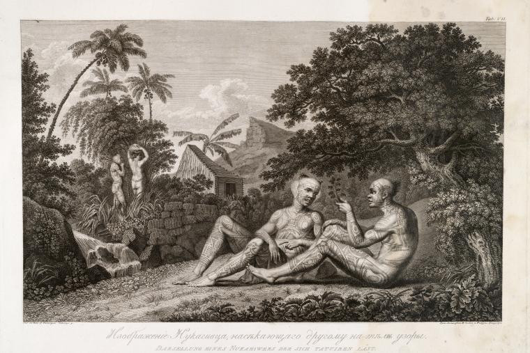 French Polynesia Two Tattooed Men