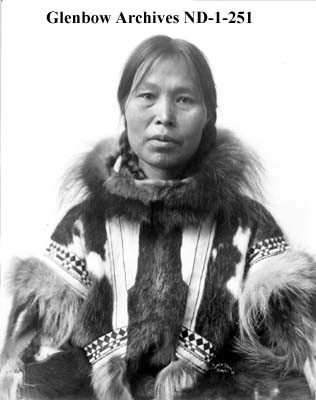 Inuit Woman in Parka with Tattoos