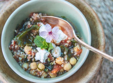 Salade de pois chiches et wakame.