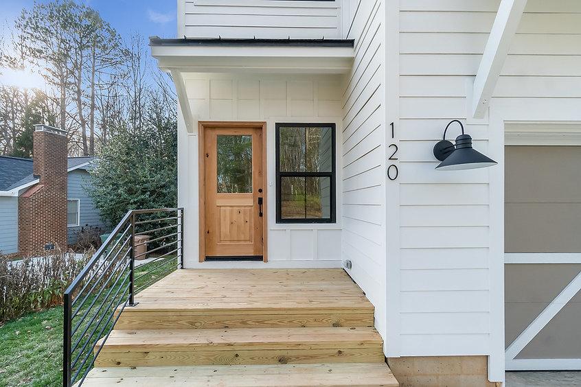 modern farmhouse wood door exterior whit