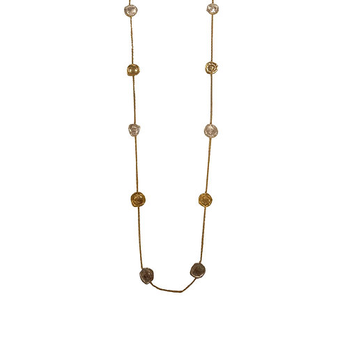Single line, long, two- tone chain necklace